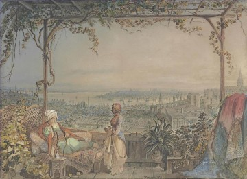 Pasha and maid on a balcony in Pera overlooking Constantinople Amadeo Preziosi Neoclassicism Romanticism Oil Paintings
