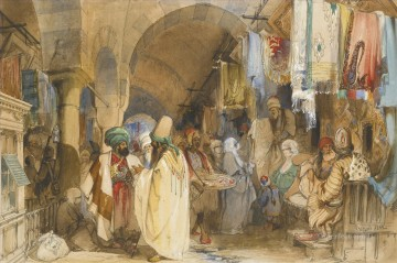 romantic romantism Painting - THE GRAND BAZAAR CONSTANTINOPLE Amadeo Preziosi Neoclassicism Romanticism