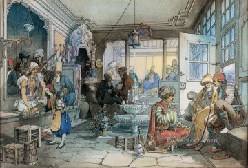 Amadeo Works - A cafe in Istanbul Watercolour Ottoman Empire Amadeo Preziosi Neoclassicism Romanticism