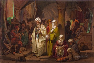 The Grand Bazaar Amadeo Preziosi Neoclassicism Romanticism Oil Paintings