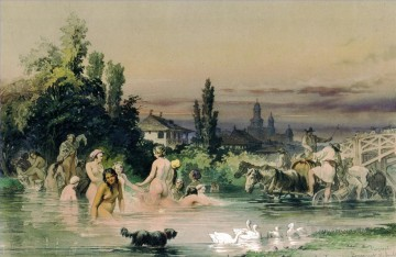 Amadeo Works - bathing nudes in river rural Amadeo Preziosi Neoclassicism Romanticism