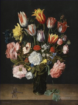Ambrosius Bosschaert Painting - A STILL LIFE OF TULIPS ROSES BLUEBELLS DAFFODILS Ambrosius Bosschaert