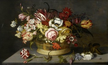 rose roses Painting - Flowers in a basket with a carnation a rose and a lizard on a table Ambrosius Bosschaert