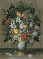 chinese vase with flowers shells and insects Ambrosius Bosschaert