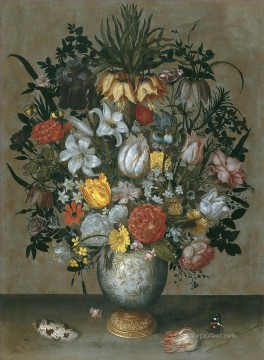 Ambrosius Bosschaert Painting - chinese vase with flowers shells and insects Ambrosius Bosschaert