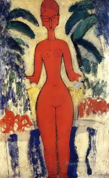 Amedeo Oil Painting - standing nude with garden background 1913 Amedeo Modigliani
