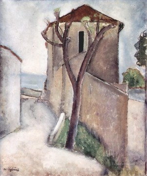 tree and house 1919 Amedeo Modigliani Oil Paintings