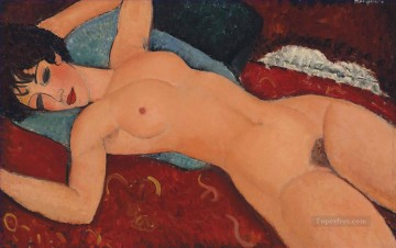 Amedeo Modigliani Painting - Nu couche Red  Reclining Nude Amedeo Modigliani