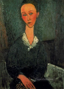 Amedeo Oil Painting - a woman with white collar 1916 Amedeo Modigliani
