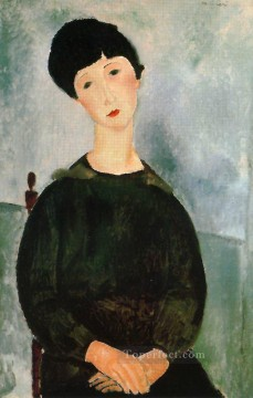 1918 Painting - a young girl 1918 Amedeo Modigliani