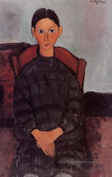 a young girl with a black overall 1918 Amedeo Modigliani Oil Paintings