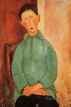 Amedeo Modigliani Painting - boy in a blue shirt Amedeo Modigliani
