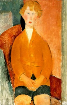 Amedeo Oil Painting - boy in shorts 1918 Amedeo Modigliani