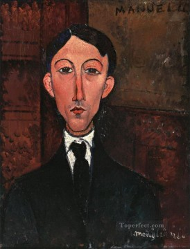 bust of manuel humbert Amedeo Modigliani Oil Paintings