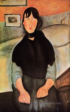 1918 Painting - dark young woman seated by a bed 1918 Amedeo Modigliani