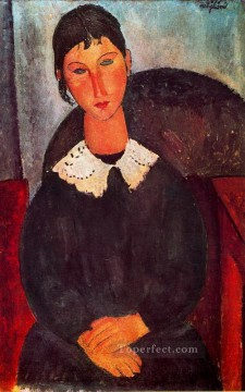 1918 Painting - elvira with a white collar 1918 Amedeo Modigliani