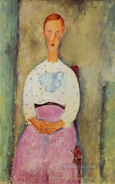 girl with a polka dot blouse 1919 Amedeo Modigliani Oil Paintings