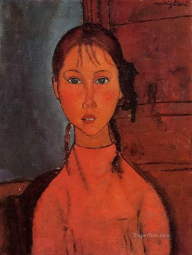 Amedeo Modigliani Painting - girl with pigtails 1918 Amedeo Modigliani