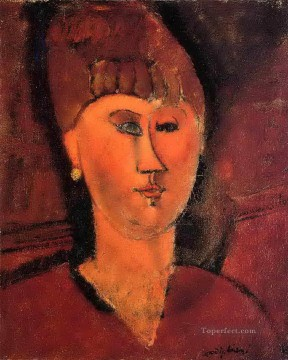 head of red haired woman 1915 Amedeo Modigliani Oil Paintings