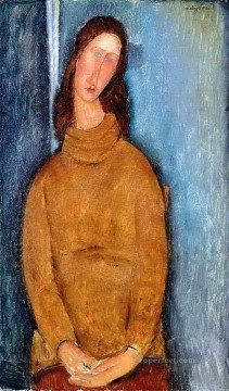 hebuterne Works - jeanne hebuterne in a yellow jumper 1919 Amedeo Modigliani