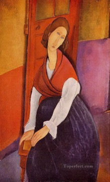 Amedeo Modigliani Painting - jeanne hebuterne in front of a door 1919 Amedeo Modigliani