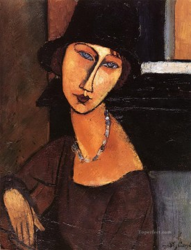1917 Canvas - jeanne hebuterne with hat and necklace 1917 Amedeo Modigliani