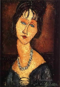 1917 Canvas - jeanne hebuterne with necklace 1917 Amedeo Modigliani