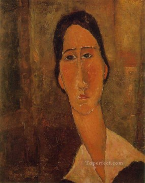 Modigliani Art Painting - jeanne hebuterne with white collar 1919 Amedeo Modigliani
