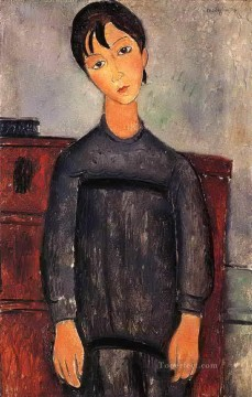 little girl in black apron 1918 Amedeo Modigliani Oil Paintings