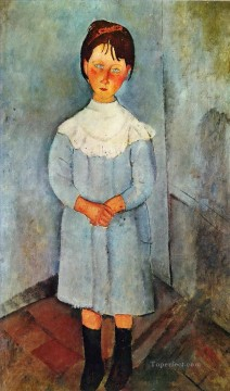 1918 Painting - little girl in blue 1918 Amedeo Modigliani