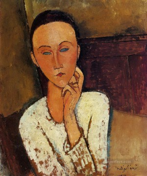 left Canvas - lunia czechowska with her left hand on her cheek 1918 Amedeo Modigliani
