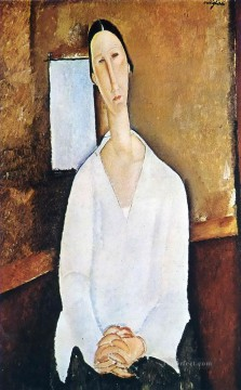 madame zborowska with clasped hands Amedeo Modigliani Oil Paintings