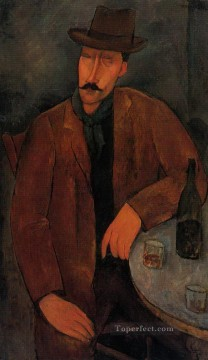 Amedeo Oil Painting - man with a glass of wine Amedeo Modigliani
