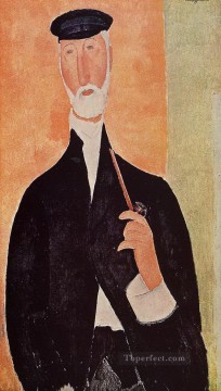 man with a pipe the notary of nice 1918 Amedeo Modigliani Oil Paintings