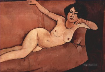 Amedeo Oil Painting - nude on sofa almaisa 1916 Amedeo Modigliani