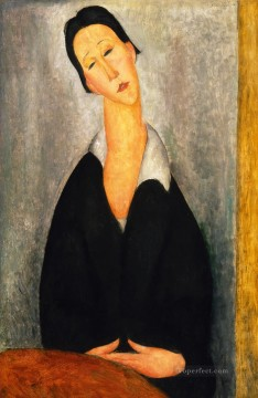 Polish Oil Painting - portrait of a polish woman Amedeo Modigliani
