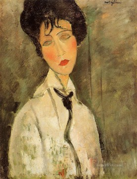 portrait of a woman in a black tie 1917 Amedeo Modigliani Oil Paintings