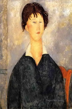 Amedeo Modigliani Painting - portrait of a woman with a white collar 1919 Amedeo Modigliani