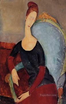 hebuterne Works - portrait of jeanne hebuterne in a blue chair 1918 Amedeo Modigliani