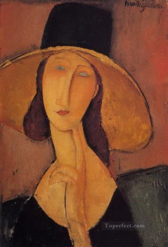 Amedeo Oil Painting - portrait of jeanne hebuterne in a large hat Amedeo Modigliani