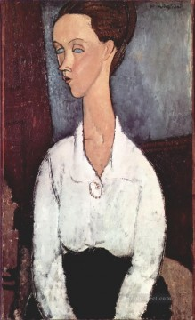 1917 Canvas - portrait of lunia czechowska in white blouse 1917 Amedeo Modigliani