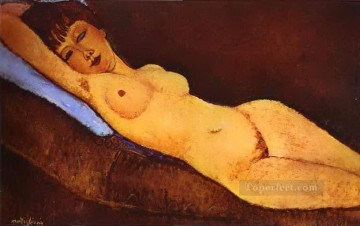 1917 Canvas - reclining nude with blue cushion 1917 Amedeo Modigliani