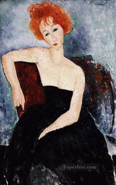 Amedeo Modigliani Painting - red headed girl in evening dress 1918 Amedeo Modigliani