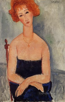 redheaded woman wearing a pendant 1918 Amedeo Modigliani Oil Paintings