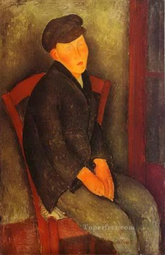 1918 Painting - seated boy with cap 1918 Amedeo Modigliani