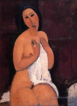 Amedeo Oil Painting - seated nude with a shirt 1917 Amedeo Modigliani