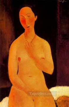 1917 Canvas - seated nude with necklace 1917 Amedeo Modigliani