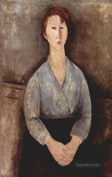 Modigliani Deco Art - seated woman weared in blue blouse 1919 Amedeo Modigliani