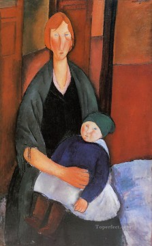 Amedeo Modigliani Painting - seated woman with child motherhood 1919 Amedeo Modigliani