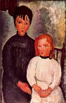 two girls 1918 Amedeo Modigliani Oil Paintings